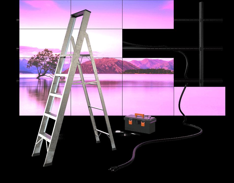 assembling mounting support videowall